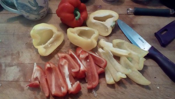 slice the peppers into strips. Don't forget to feed the scraps to the guinea pigs.