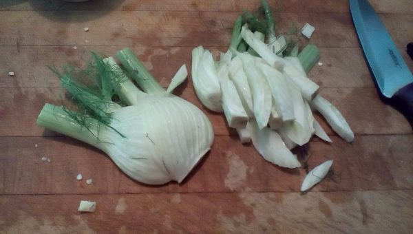 cut the fennel into chunks. Give any off cuts to the guinea pigs.