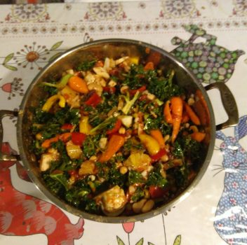 Cauliflower and Carrot Bean Casserole with Fennel and Kale