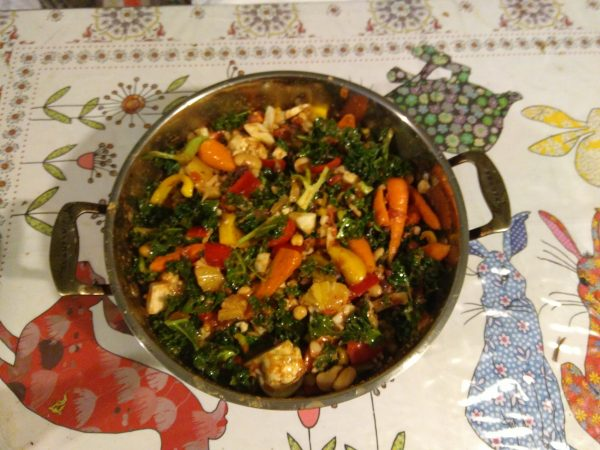 Cauliflower and Carrot Bean Casserole with Pineapple, Fennel and Kale