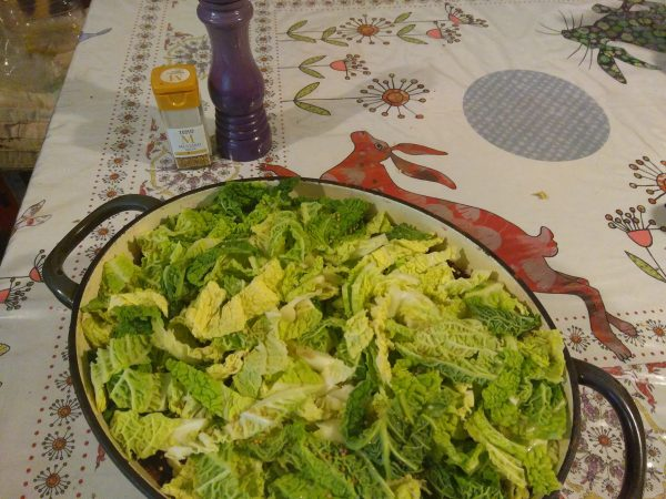 Slice and add the kale (here savoy cabbage is used as a substitute). Sprinkle with sea salt and mustard seeds.